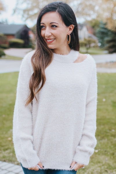 Cut Out Shoulder Fuzzy Sweater