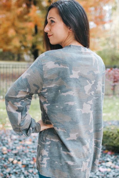 Lace Up Front Camo Top