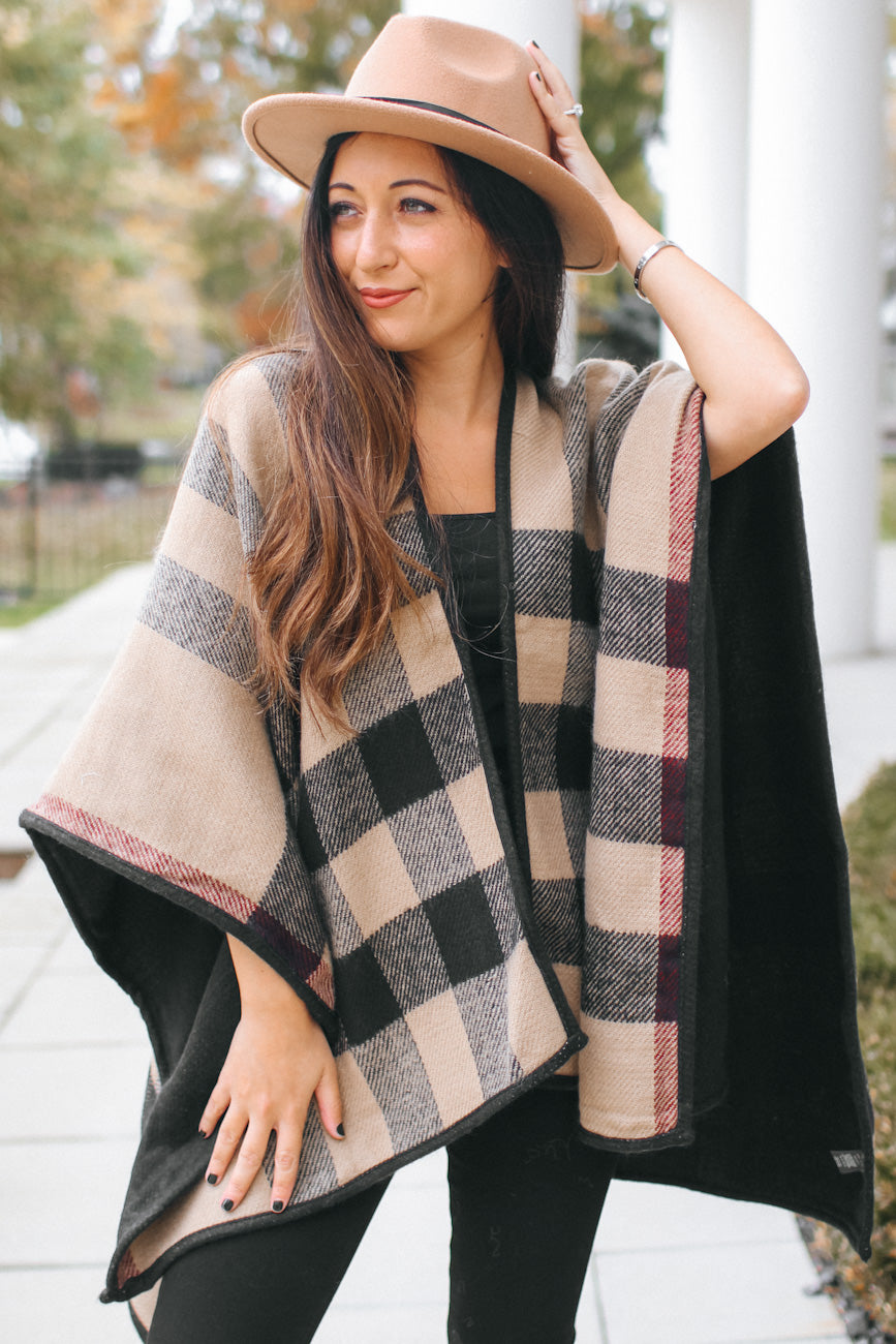 Plaid Point Open Shawl