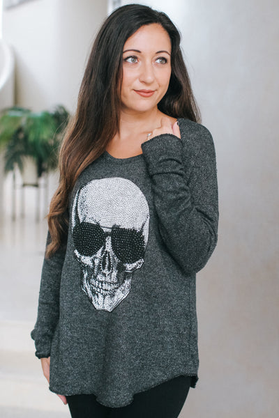 Large Rhinestone Skull Long Sleeve Top
