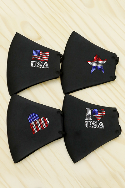 Rhinestone USA Face Mask