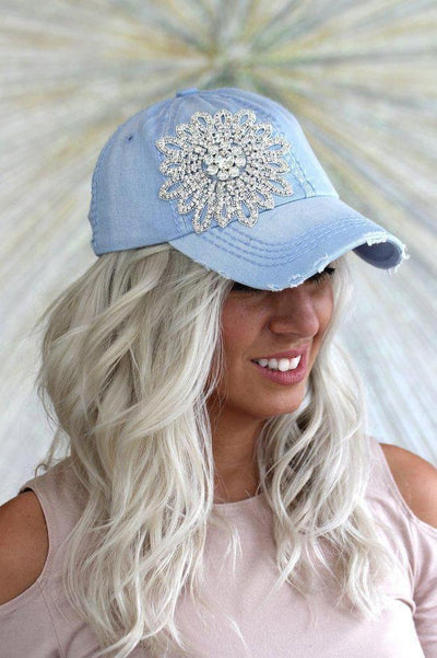 Distressed Rhinestone Flower Baseball Hat - Glitz & Ears