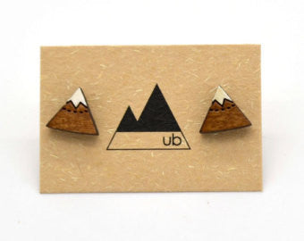 Mountain Studs - Laser cut wood - Natural