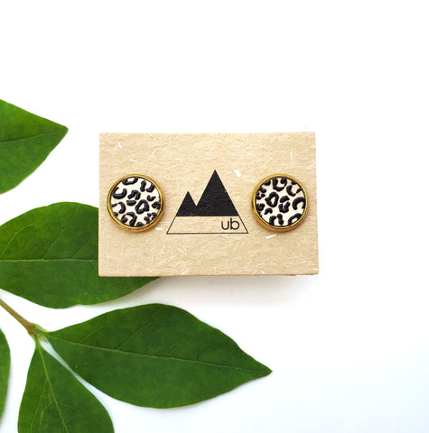 Faux Sho - Beige Leopard Print Earrings