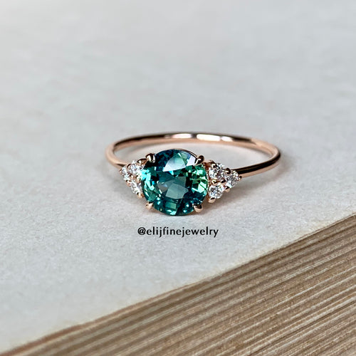 Teal Sapphire & Diamond Stacking Ring (Series 3)