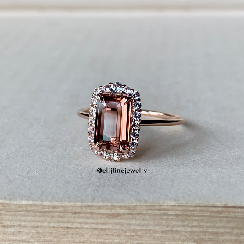 Pink Tourmaline & White Sapphire Stacking Ring (Series 2)