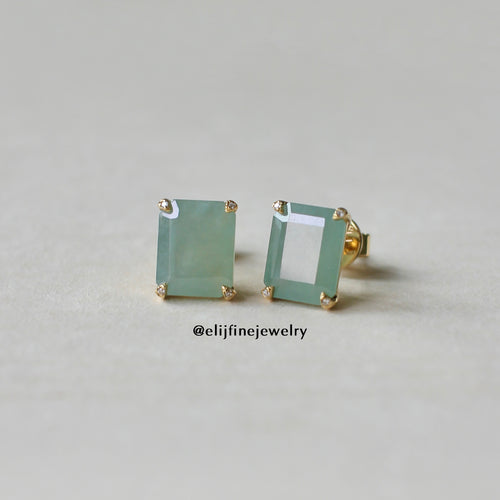 Jade Gems Emerald Cut Green Jadeite Earrings (Yellow Gold)