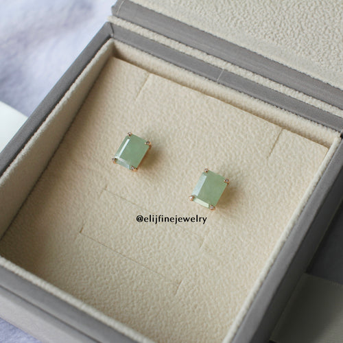 Jade Gems Emerald Cut Green Jadeite Earrings (Rose Gold)