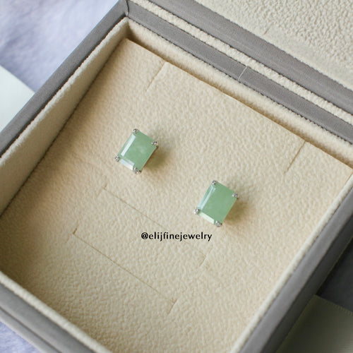 Jade Gems Emerald Cut Green Jadeite Earrings (White Gold)