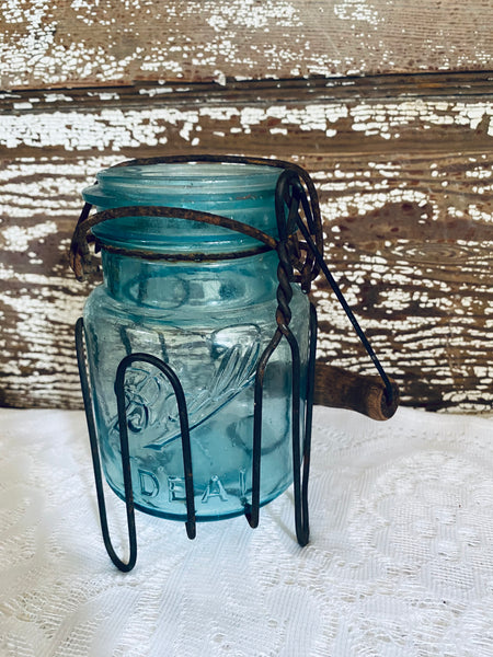 Vintage Blue Mason jar & metal holder