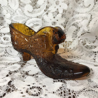 Vintage Amber glass shoe