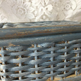 Wicker chalk painted basket w/hinged lid