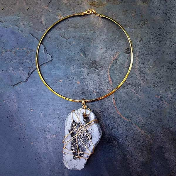 Grey Druzy Pendant with Gold Choker