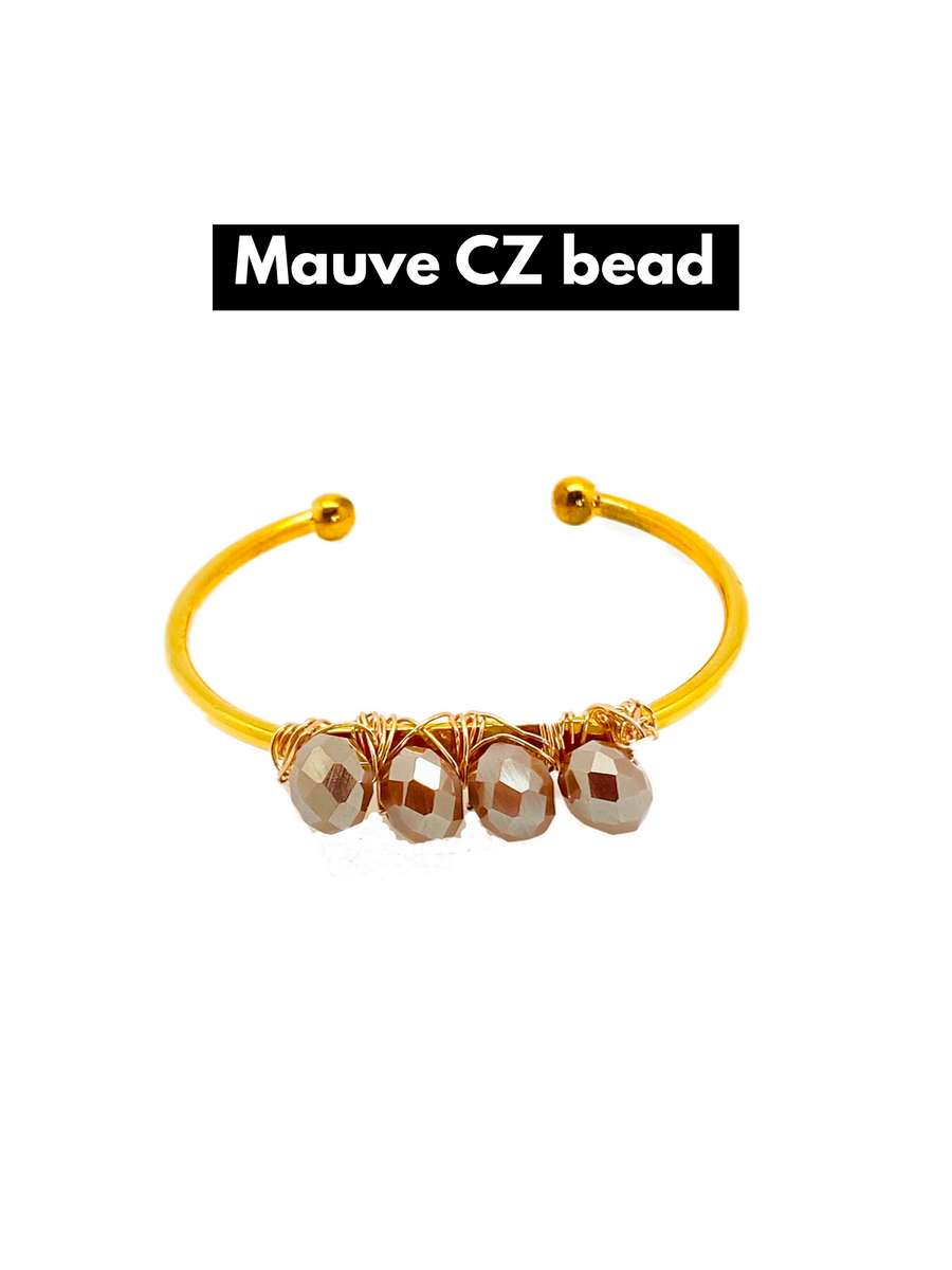 CLAIRE  Bangle bracelet with Czech crystals and pearls