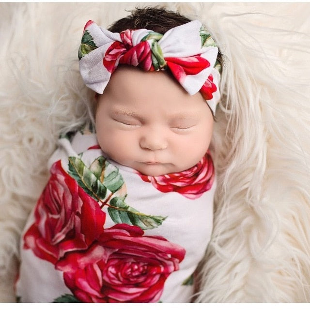 Red Flower | Baby Wrap Swaddling Blanket