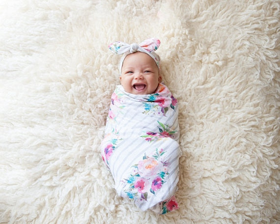 Lining Blanket With Flowers | Baby Wrap Swaddling Blanket