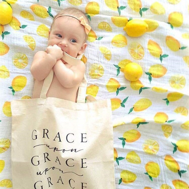 Yellow Mango & White | Baby Wrap Swaddling Blanket