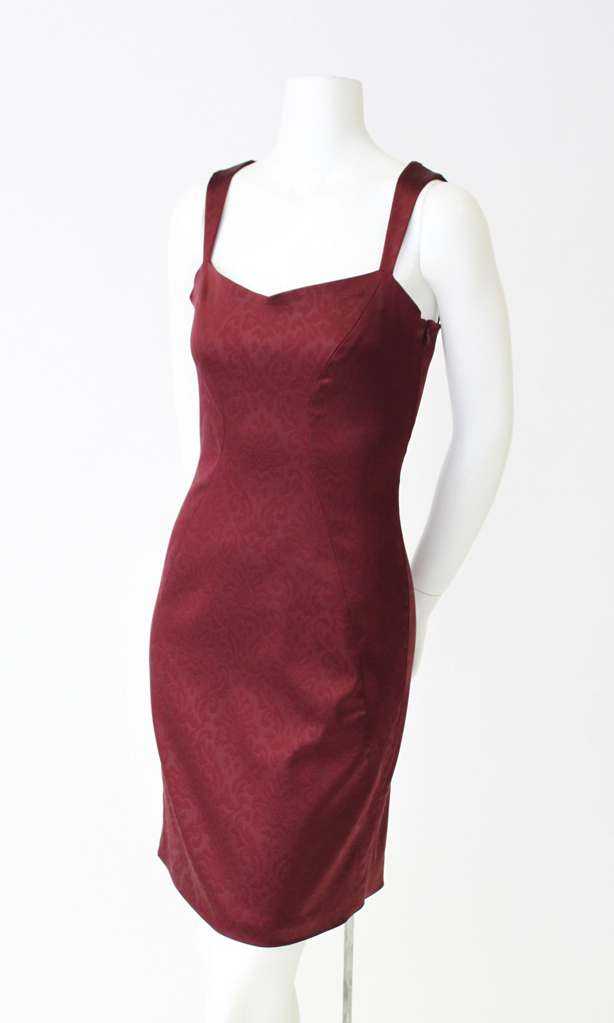 LINA BORDEAUX DAMASK DRESS