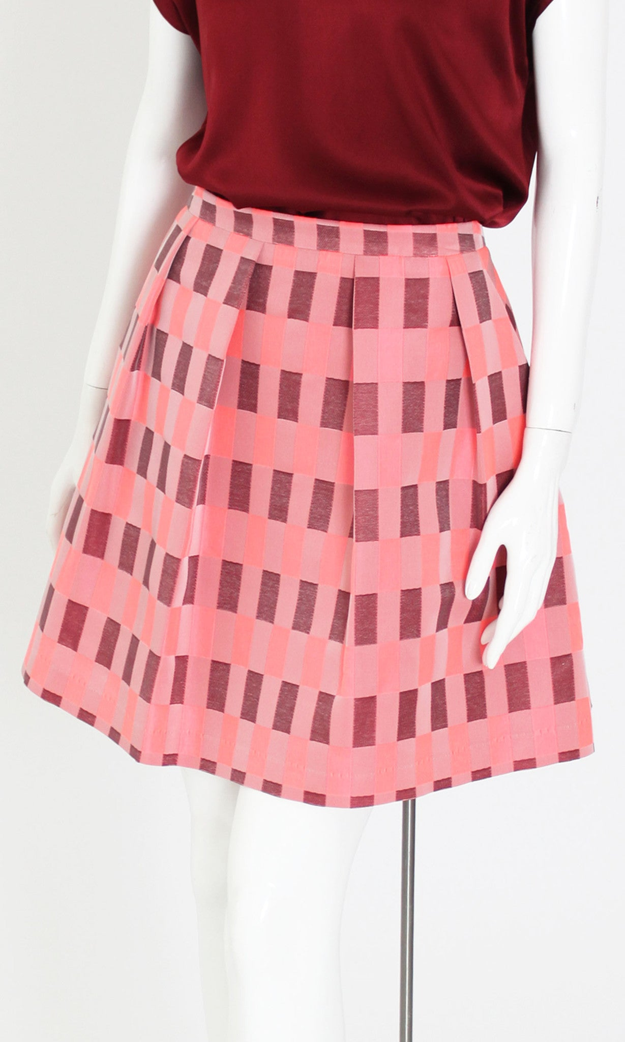 KAT CHECK PLEATED SKIRT