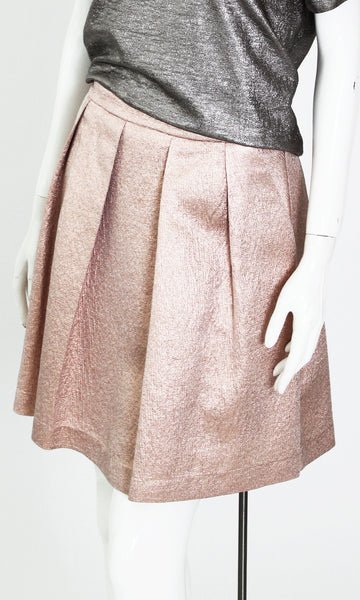 KAT ROSE GOLD PLEATED SKIRT