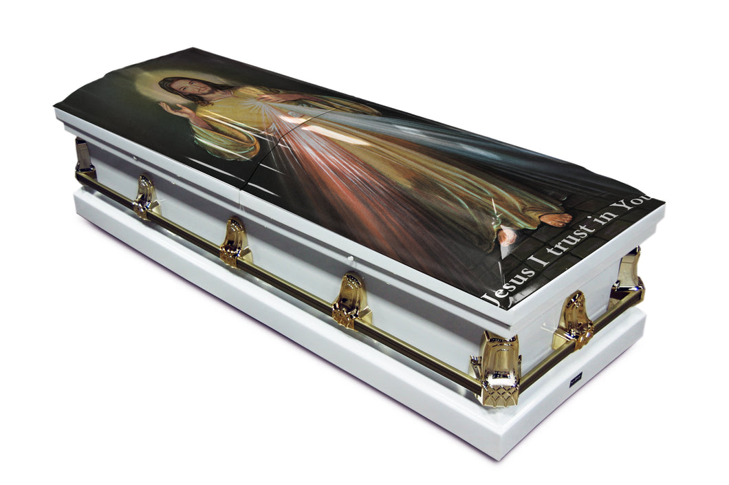 Divine Mercy English | White with Gold Hardware