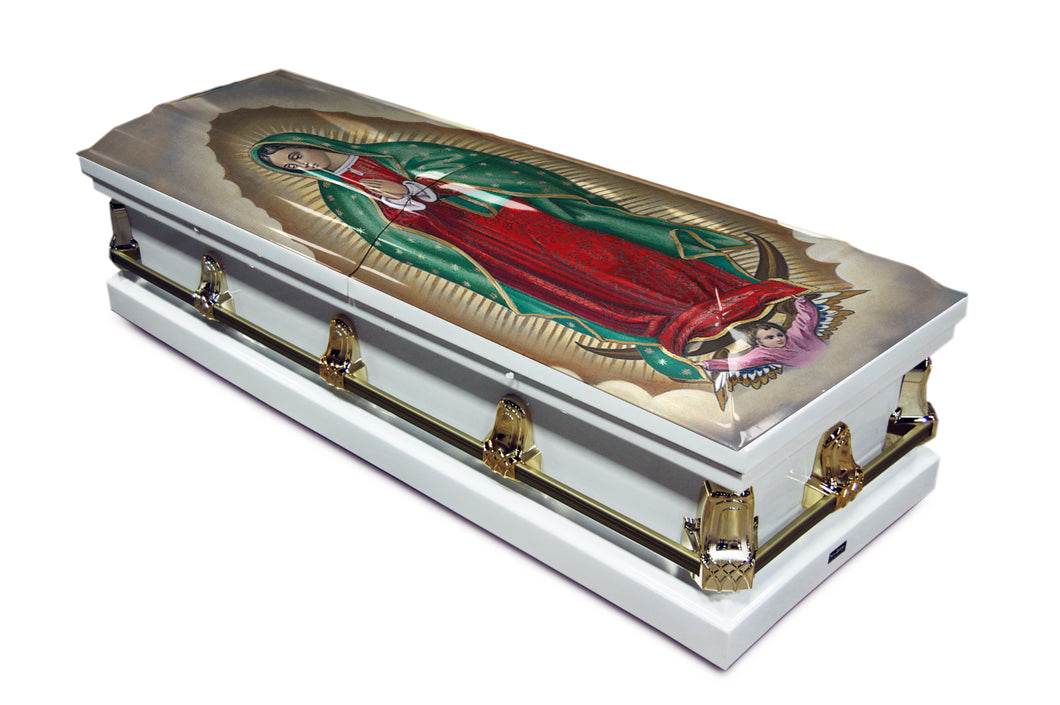 Our Lady of Guadalupe Color Option 2 | White with Gold Hardware