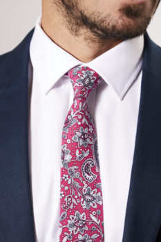 SKINNY COTTON TIE WITH BRIGHT PINK FLORAL AND PAISLEY DESIGN