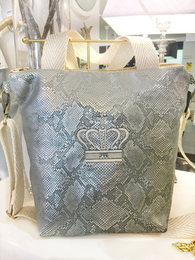 BOLSO PARIS SERPIENTE PLATA