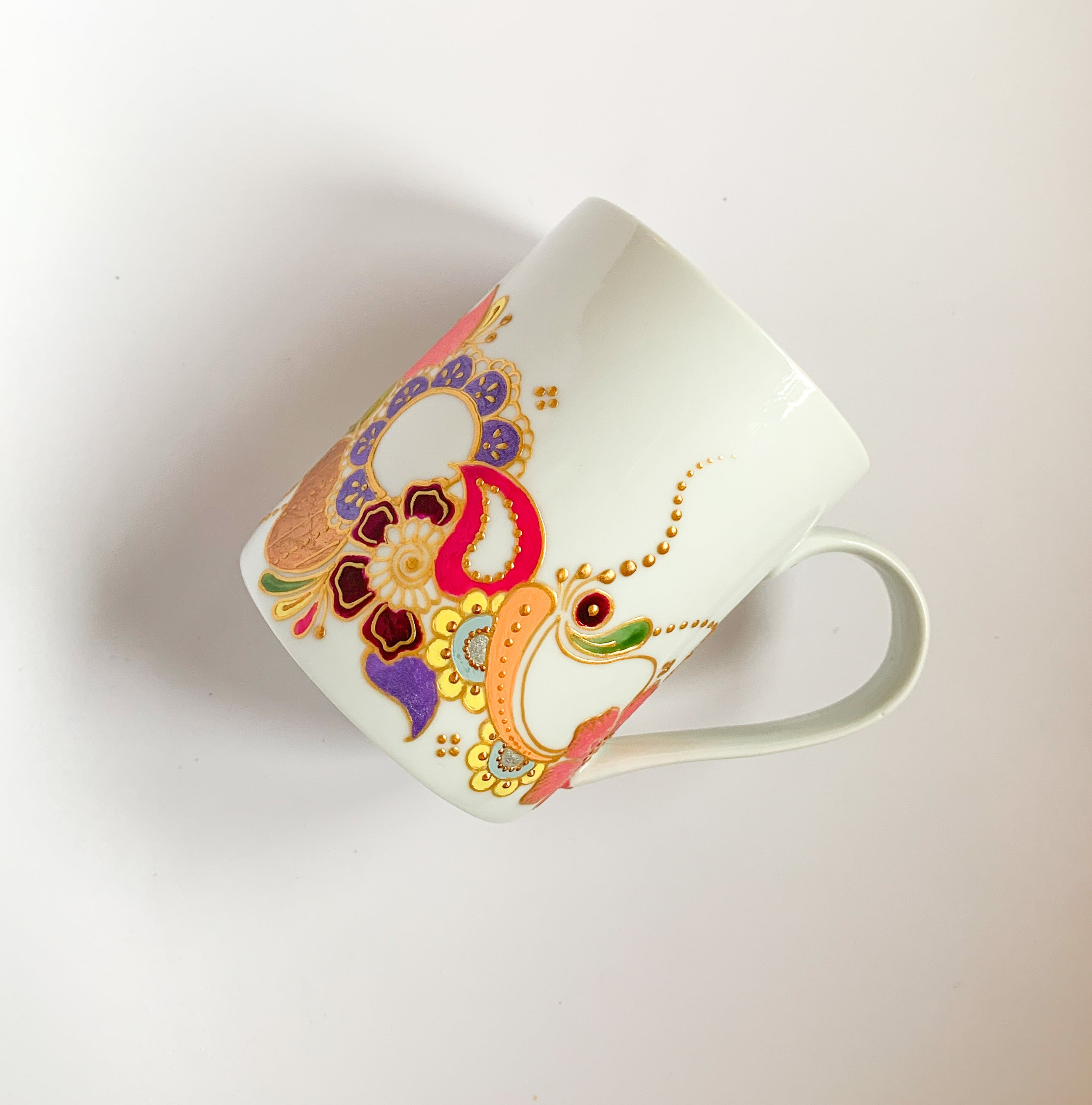 PASTEL RAINBOW Floral Coffee mug, white Mug, Handpainted Henna mug with vibrant color - 12oz