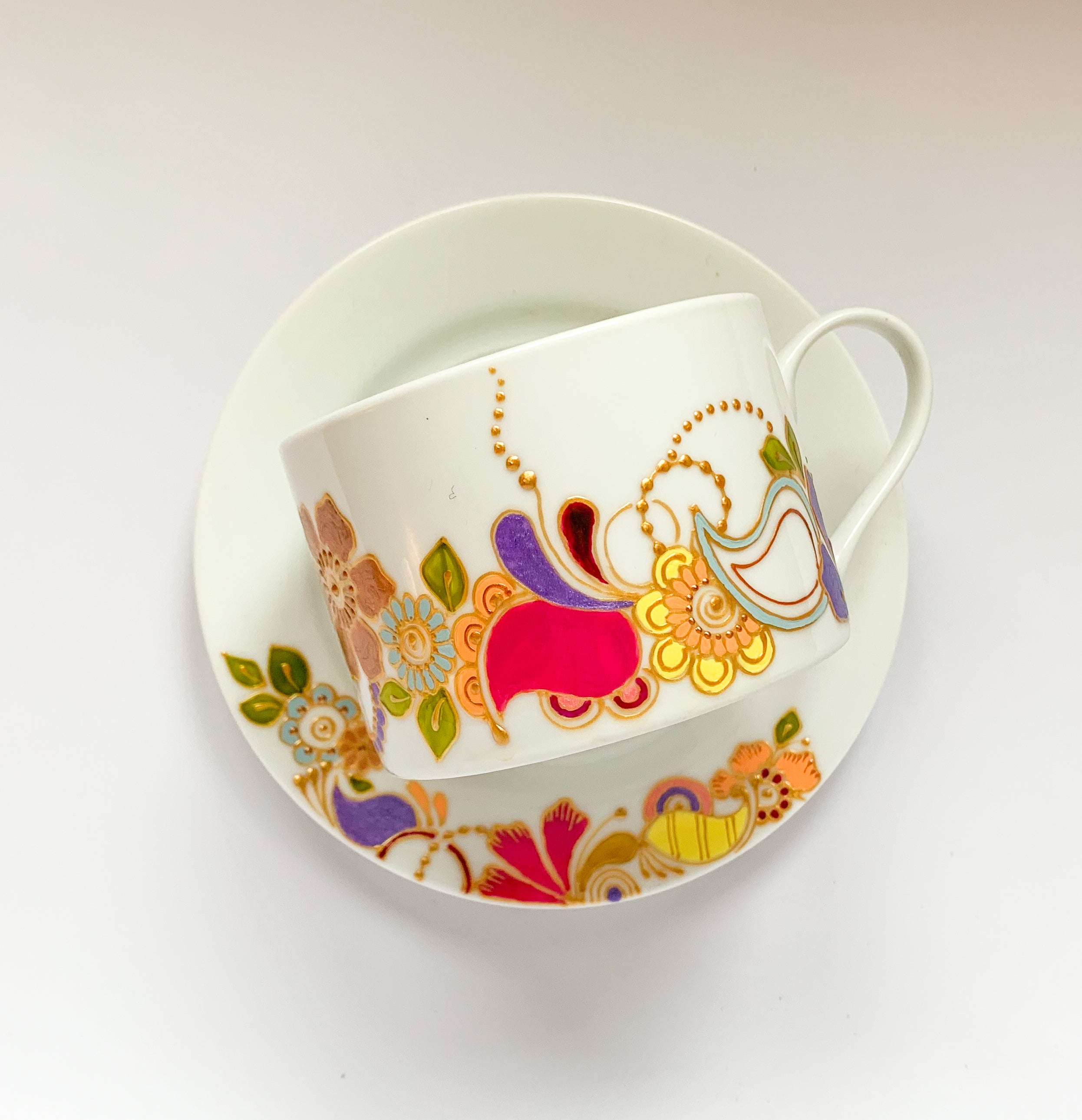 PASTEL RAINBOW Floral Teacup set, Henna-inspired and Hand-painted Teacup and Saucer, Full color henna motif 10oz