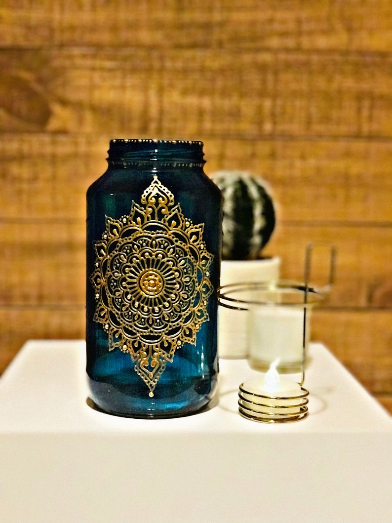 Henna Moroccan Indian Bohemian Henna Jar 24 oz Candleholder with Hand-painted Details