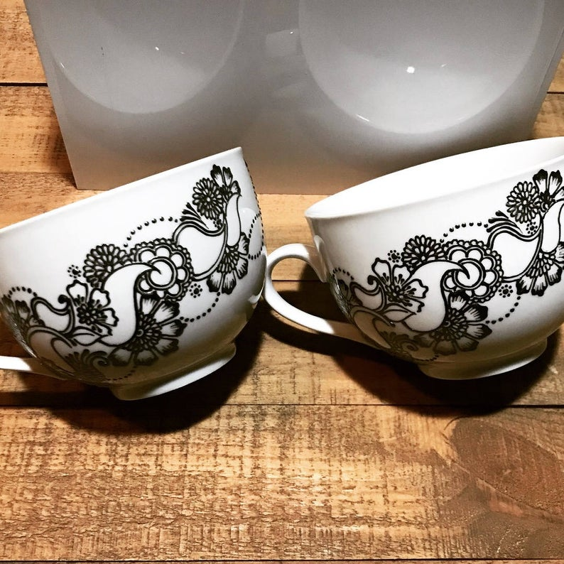 CAPPUCCINO, CEREAL, SOUP Mug with Floral Henna Design Pattern-20oz