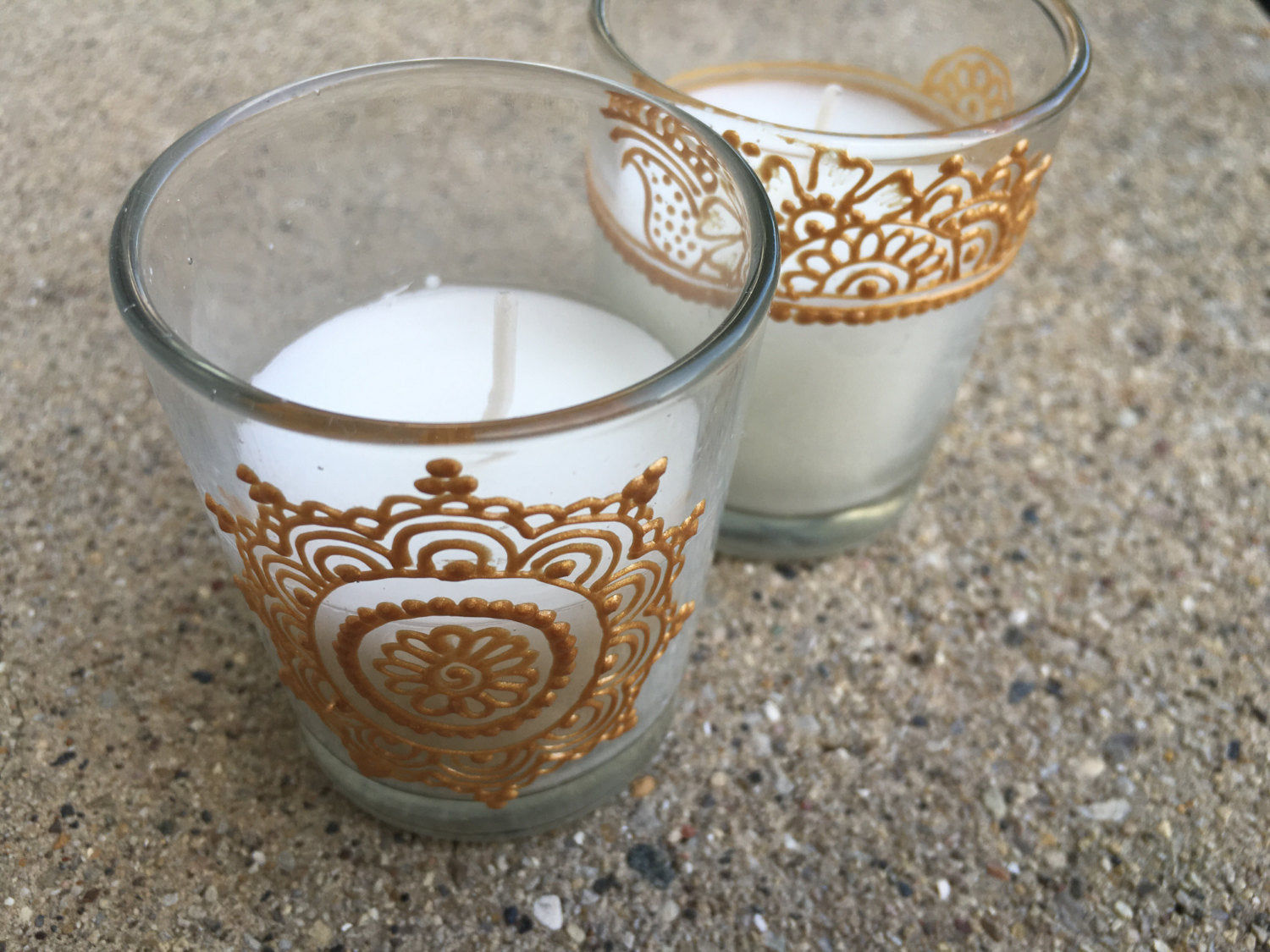 Set of 2 Handpainted Votive Candles in Gold