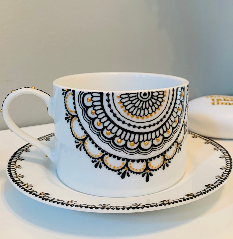 Teacup set, Henna-inspired and Hand-painted Teacup and Saucer, THIN Half mandala design, 10oz