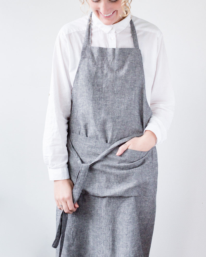 Sunnyside Hemp-Cotton Apron in Denim