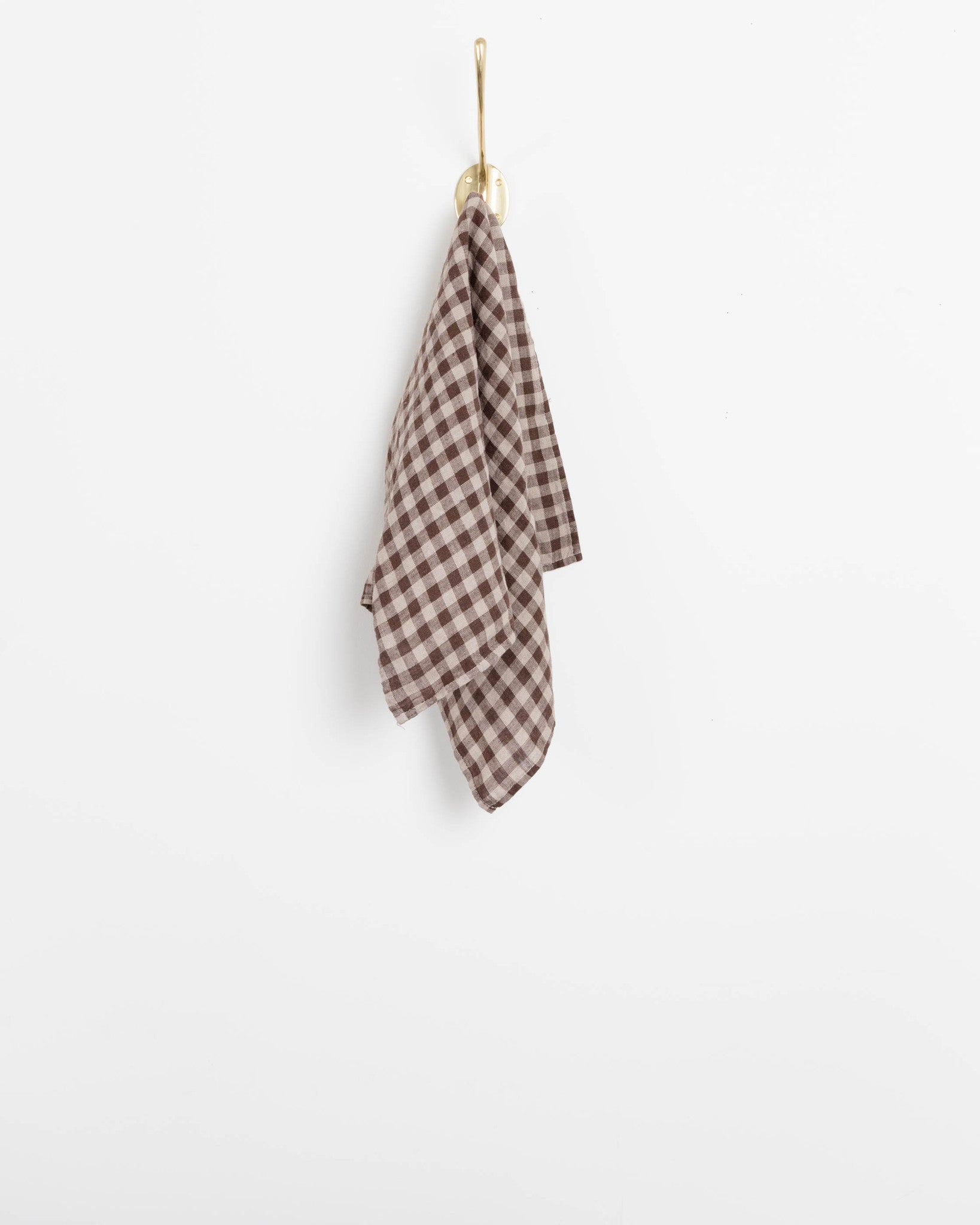 Fog Linen Kitchen Towel in Natural Plaid