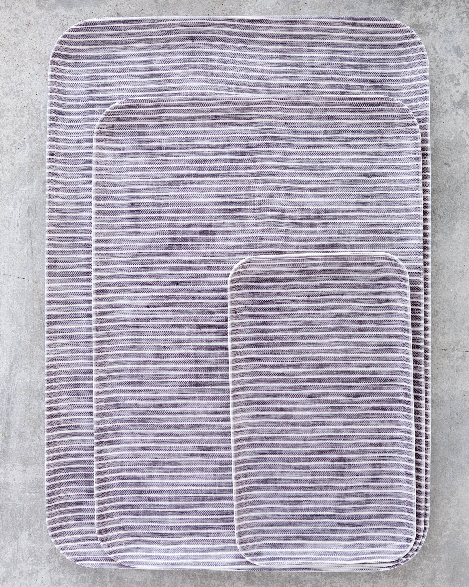Fog Linen Medium Tray in Grey Stripe