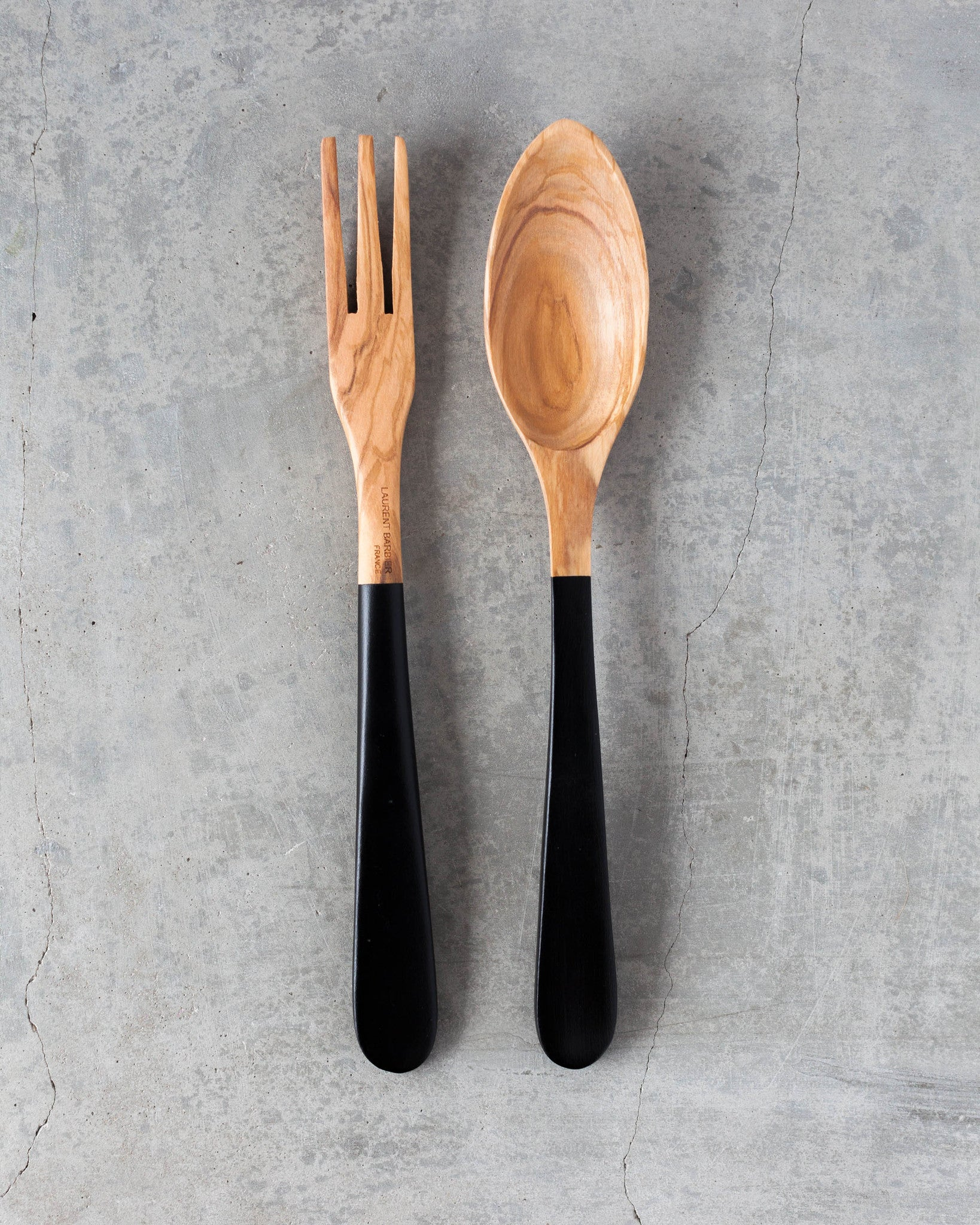 Olive Wood Demi-Baguette Server Set Large in Black