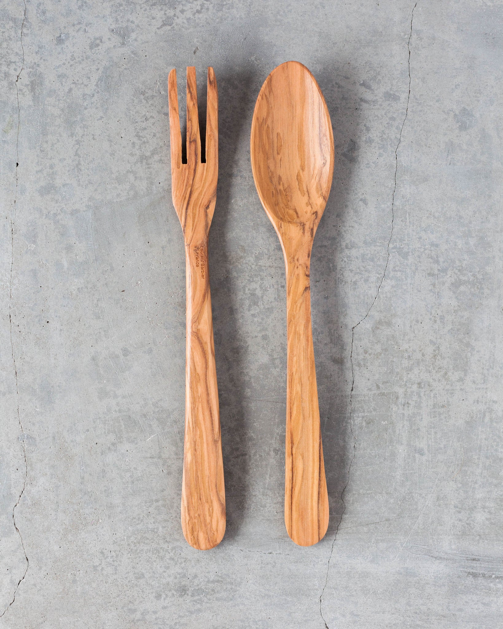 Olive Wood Demi-Baguette Server Set Large in Natural
