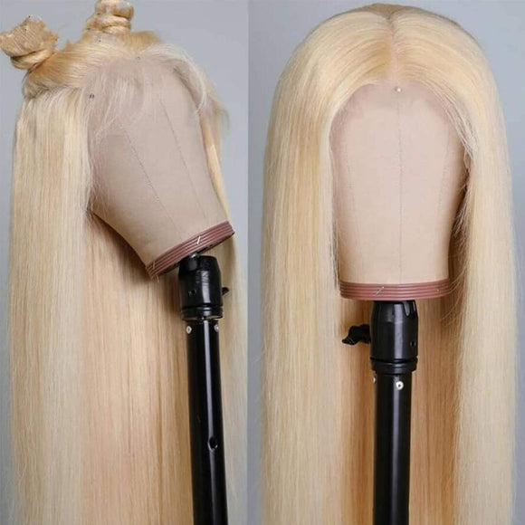 613 Platinum Blonde Straight 13x4 wig 200% density