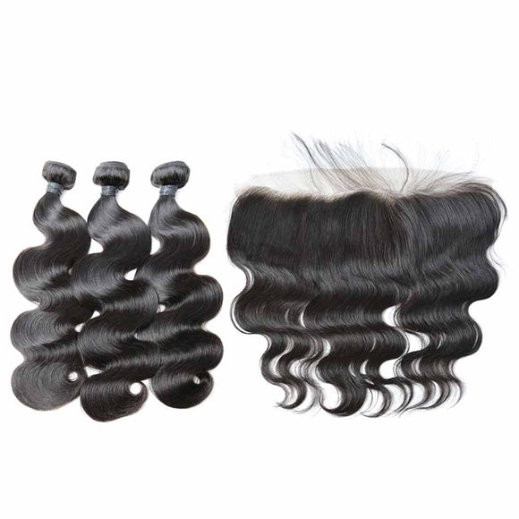 Brazilian Body Wave 3 Bundle & HD Lace Frontal