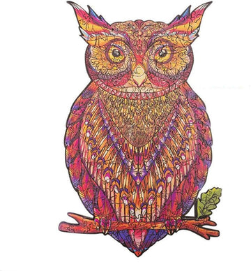 LWen Wooden Jigsaw Puzzles, Unique Shape Animal Shape Wooden Puzzle For Adults and Children DIY Puzzle piece, Family Game Play Collection Home Decor Toys (13 Yellow Owl A4 122pieces )