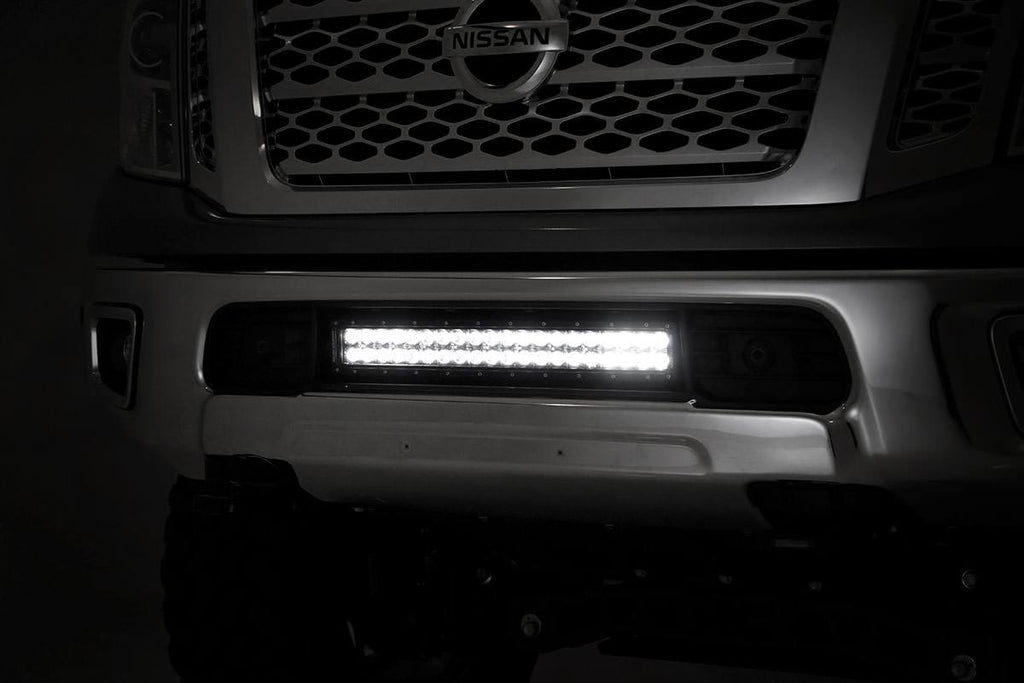 2016-2017 Nissan Titan XD  20-inch Black Series Dual Row CREE LED Light Bar & Hidden Bumper Mounts Kit