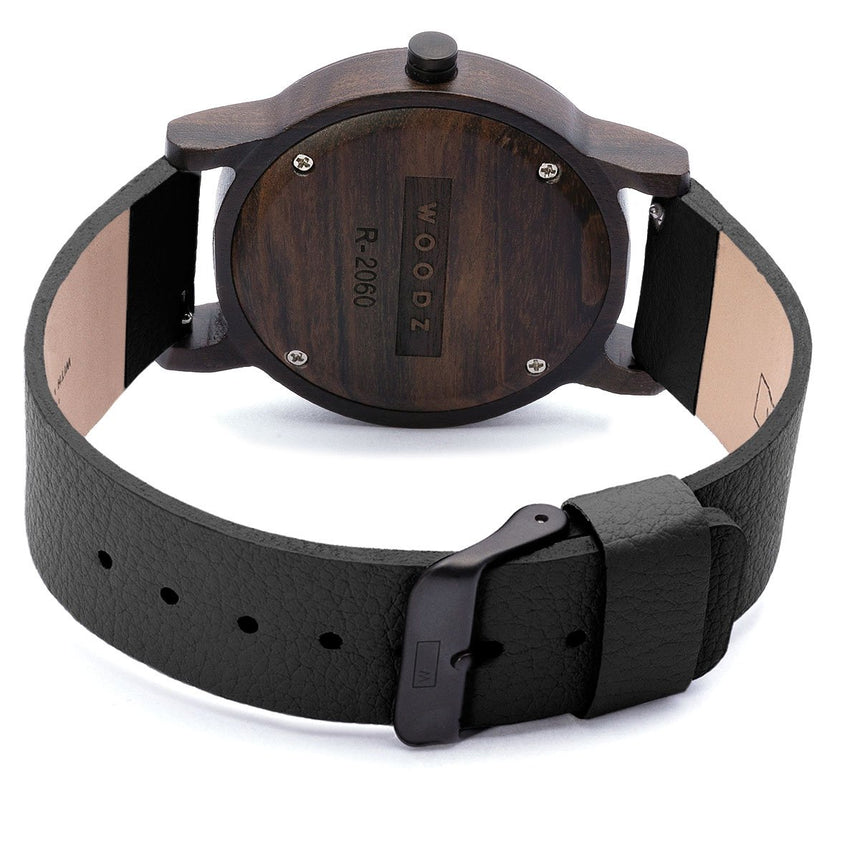 Wood Watch | Woodz Black Night (Pinatex Black Strap)