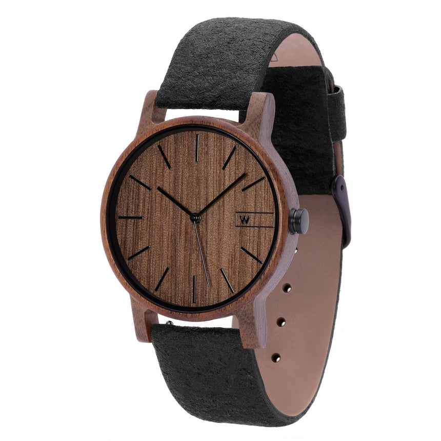 Wood Watch | Woodz Eko Nut (Pinatex Charcoal Strap)