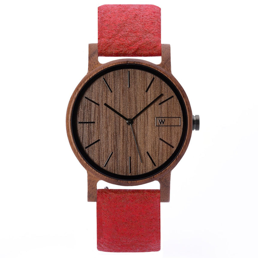 Wood Watch | Woodz Eko Nut (Pinatex Paprika Strap)