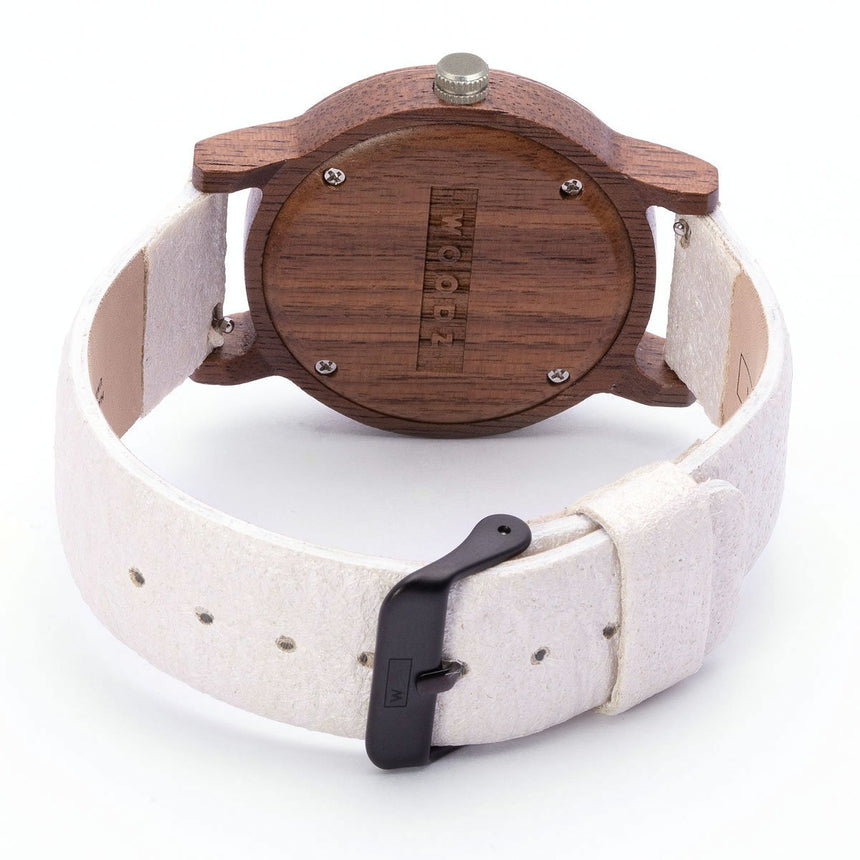 Wood Watch | Woodz Kor Silver (Pinatex White Pearl Strap)