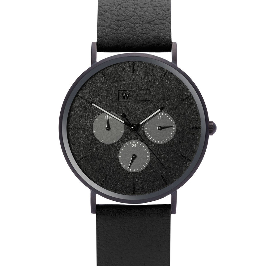 Steel & Wood Watch | Woodz Krome Black (Pinatex Black Strap)