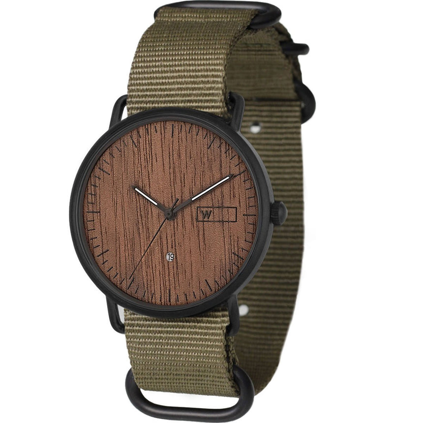 Steel & Wood Watch | Woodz Ox Nut (Military Green Nato Strap)