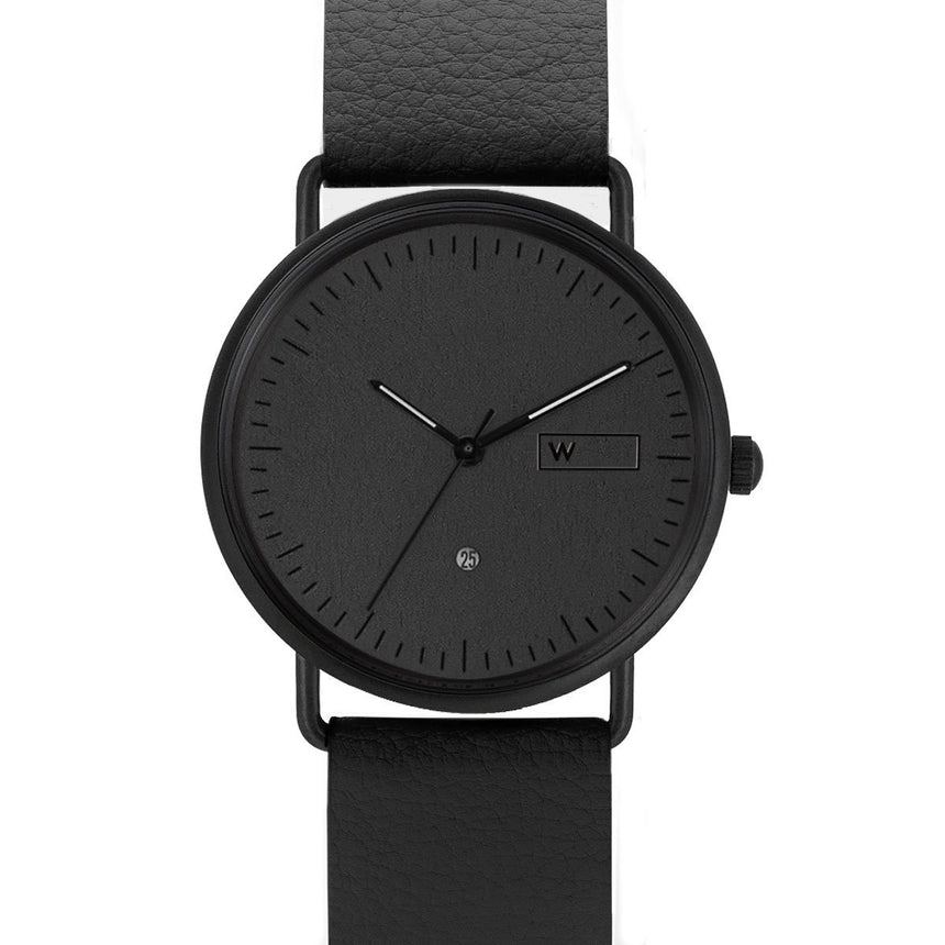 Steel & Wood Watch | Woodz Ox Black (Pinatex Black Strap)